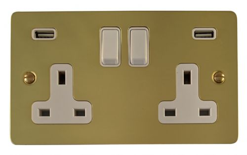 G&H FB910W Flat Plate Polished Brass 2 Gang Double 13A Switched Plug Socket 2.1A USB